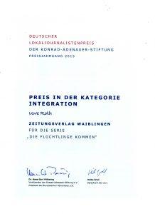 Urkunde Lokaljournalistenpreis 2015 - Uwe Roth