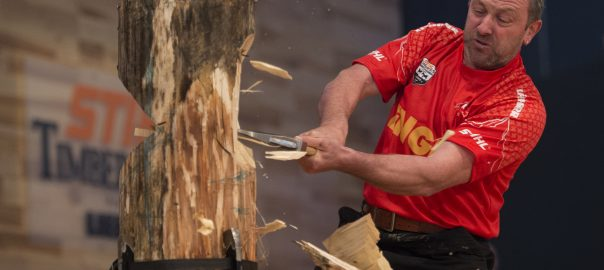 Christophe Geissler of Switzerland performs at the qualifying for the Stihl Timbersports World Championships in Poznan, Poland on November 12, 2015. Foto: Stihl