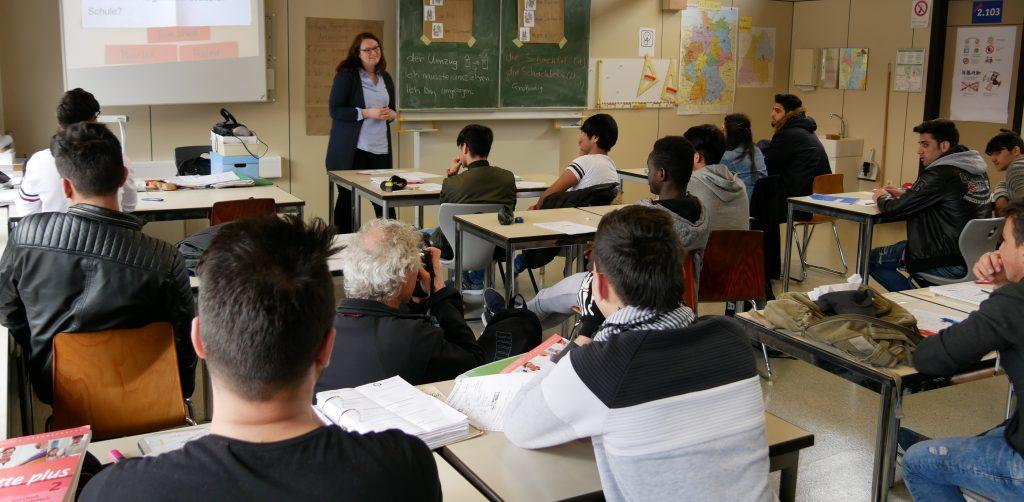 Vorbereitungsklasse an der Grafenbergschule in Schorndorf mit Lehrerin Nicole Fischer. Foto: Uwe Roth