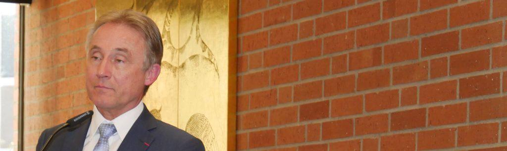 Landrat Rainer Haas, Kreisvorsitzender der Europa Union, und CDU-Bundestagsabgeordneter Gunther Krichbaum. Foto: Uwe Roth