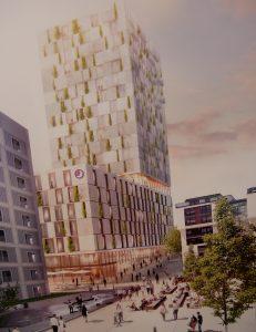 Entwurf Wettbewerbssieger Turm am Mailänder Platz Stuttgart, Büro RKW Architektur + Düsseldorf. Foto: Uwe Roth