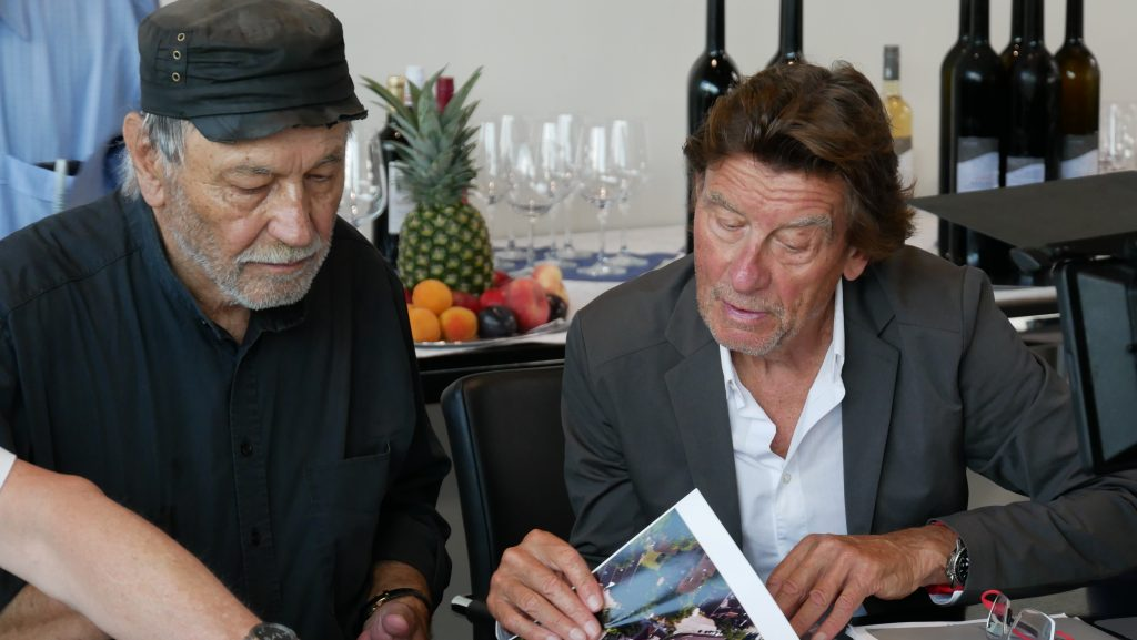 Riva-Firmenchef Hermann Pöttmer und Architekt Helmut Jahn. Foto: Uwe Roth