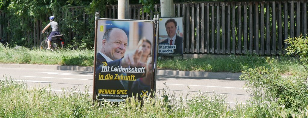 OB-Wahlkampf in Ludwigsburg: Werner Spec gegen Herausforderer Matthias Knecht. Foto: Uwe Roth